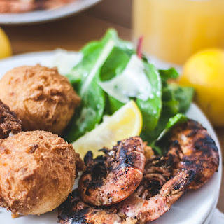 Simple Grilled Shrimp with Hushpuppies.