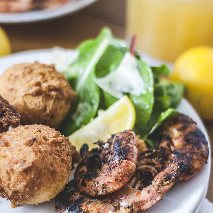 Simple Grilled Shrimp with Hushpuppies Recipe