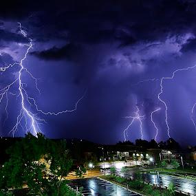 Lightning Storm over Fayetteville by Jay Stout - Landscapes Weather (  )