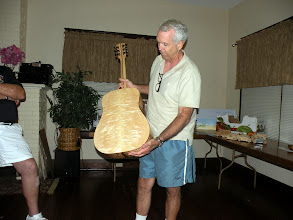 Photo: Jim's acoustical guitar made from maple curly maple koa,and ebony
