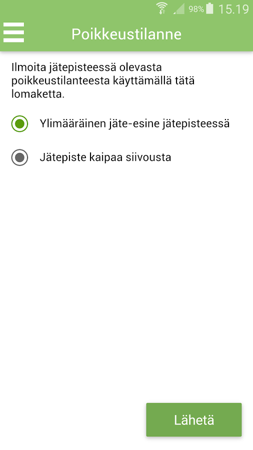 JäteAppi- screenshot