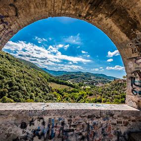 old window by Vincenzo Bernardi - Buildings & Architecture Decaying & Abandoned ( hills, ancient, window, view, landscape,  )