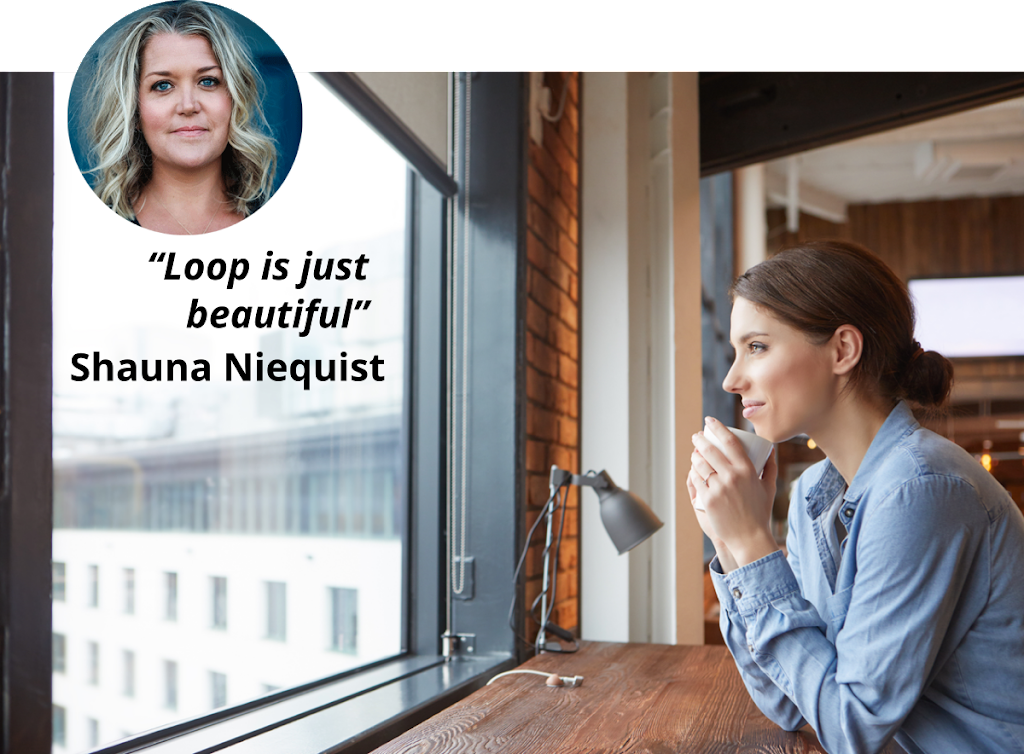 "picture of a woman drinking coffee; Quote: ""Loop is jsut beautiful"" Shauna Niequist"