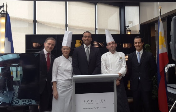 CHEF MATTHIEU GARREL AND CHEF BETTINA ARGUELLES WITH SOFITEL EXECUTIVES
