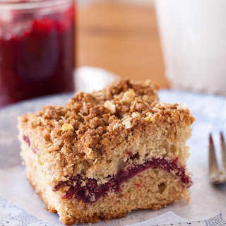 Gluten-Free Coffee Cake with Raspberry-Chia Jam and Cinnamon Streusel Topping