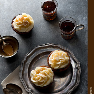 Spice Cupcakes with Vanilla Buttercream Frosting and Bourbon Sauce