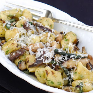 Handmade Ricotta Gnocchi with Shiitake Mushrooms in Brown Butter Sage Sauce.