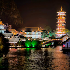 Guilin by Stanley P. - City,  Street & Park  Night