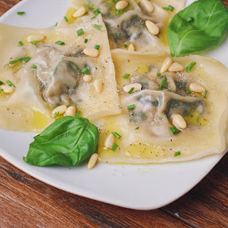 Wonton Spinach and Mushroom Ravioli.