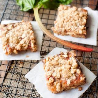 Oatmeal Rhubarb Crumb Bars.