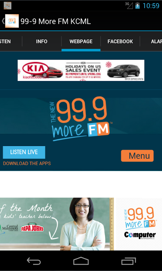99-9 More FM KCML- screenshot