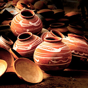Pots by Amit Aggarwal - Products & Objects Business Objects ( light play, painted, ajmer, pushkar, rajasthan, india, pots, shadows,  )