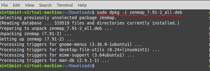 Install Zenmap in Linux Mint - install Zenmap. Source: nudesystems.com