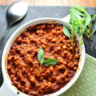 Thai Basil Chickpeas in Rich Tomato Sauce.