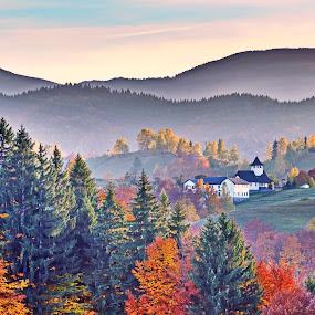 October in Romania by Dan Baciu - Landscapes Travel ( countryside, hills, church, dream, colors, nystic, romantic, romania, forest, travel, hiking, brasov, religion, color, autumn, fog, trees, simon, hinke, foggie, autumnfall, bran,  )