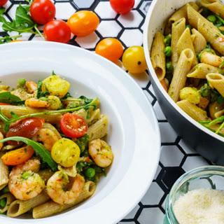 Shrimp Pasta with pesto and cherry tomatoes