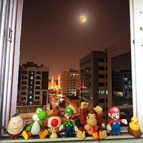 Dancing in the Moon Light by Lealiza Seiler - City,  Street & Park  Street Scenes ( dubai, super moon, street, deira, buildings, toys, ynnah chua, lea chua )