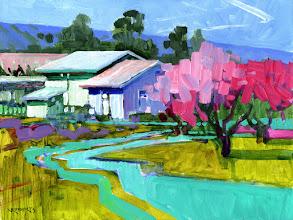"Photo: ""Spring Cherry Blossoms"", acrylic on panel 9"" x 12"", © Nancy Roberts"