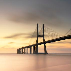 A Soft Bridge by Nuno Martins - Buildings & Architecture Bridges & Suspended Structures ( vasco da gama, parque das nações, long exposure, bridge, sunrise, expo )