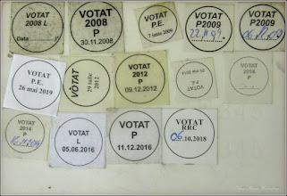 Photo: Buletin, A.M.C.,  cu stampilele de votare la sectia de pe Str. Rapsodiei, Nr.1 - 2019.05.26