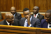 Duduzane Zuma was supported by his father, Jacob Zuma at the Randburg magistrate's court, Johannesburg, on January 24 2018,  where he is facing charges of culpable homicide.