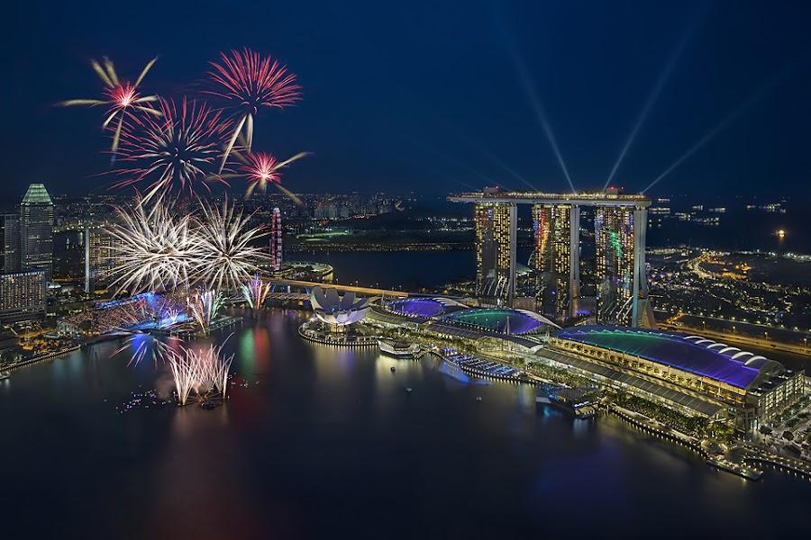 Singapore National Day Fireworks by Joseph Goh Meng Huat - Public Holidays Other ( marina bay singapore, ndp 2013, fireworks, laser, cityscape, landscape, marina bay, singapore )