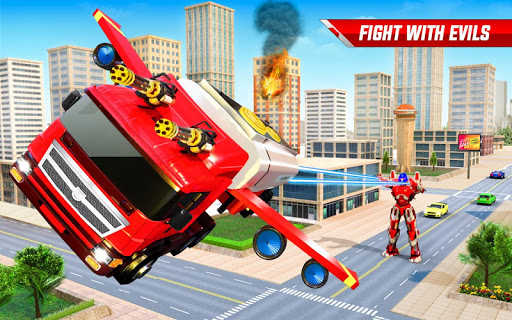 Flying Oil Tanker Robot Truck Transform Robot Game screenshots 5