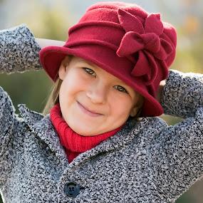 Winter  by Belinda Liebenberg - Babies & Children Child Portraits ( #hat, #greyandred, #prettygirl, #dreambuddiesphotography, #redhat )