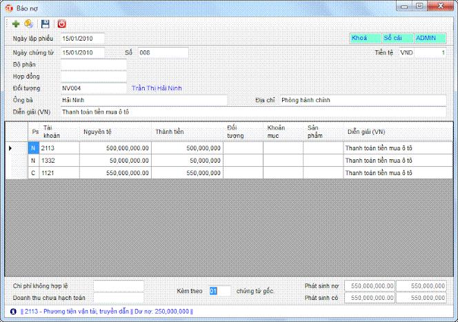Báo nợ phần mềm kế toán 3tsoft