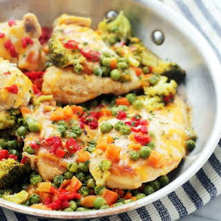 Cheesy Chicken and Vegetables Skillet.
