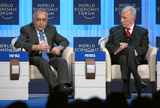 Photo: DAVOS/SWITZERLAND, 26JAN12 - Salam Fayyad (L), Prime Minister of the Palestinian Authority and Shimon Peres, President of Israel are captured during the session 'Special Conversation: Prospects for Peace in the New Middle East Context' at the Annual Meeting 2012 of the World Economic Forum at the congress centre in Davos, Switzerland, January 26, 2012.  Copyright by World Economic Forum swiss-image.ch/Photo by Remy Steinegger