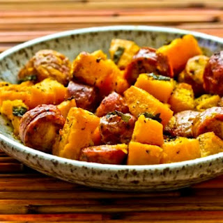 Roasted Winter Squash and Sausage with Herbs.