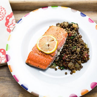 Salmon Broiled with Lemon and Green Lentil Salad.