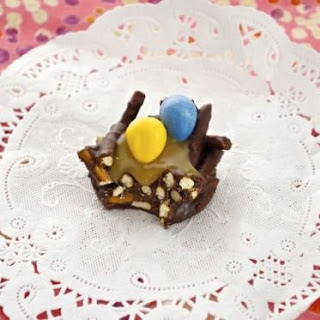 Chocolate Peanut Butter Pretzel Bird Nests with Salted Caramel