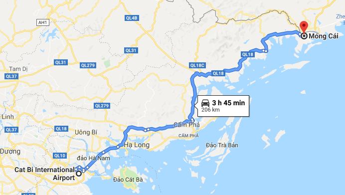 Đường từ Sân bay Cát Bi đi Móng Cái
