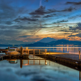 Golden Sparkles during Blue Hour by Jessica Meckmann - Landscapes Waterscapes