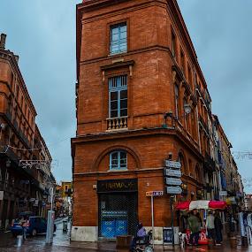 Rainy walk by Alina Dinu - City,  Street & Park  Street Scenes ( rainy day, buildings, city life, cloudy, chilly, streets, people, city,  )