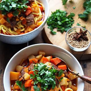 Lagman - Uzbek Beef Noodle Soup with Vegetables.