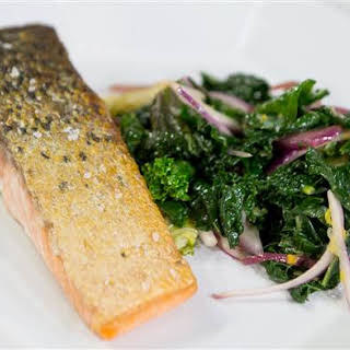Pan-Seared Salmon with Braised Kale.