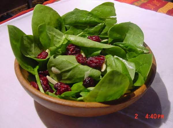 Spinach Salad With Cranberries And Slivered Toasted Almonds Recipe