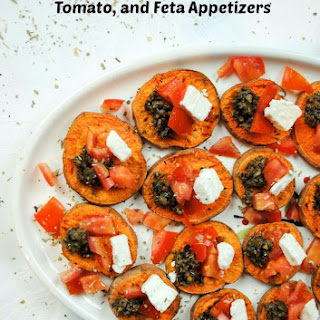Greek Sweet Potato, Olive, Tomato, and Feta Appetizers.