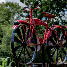 Red Bike Garden Ornament by Greg Bennett - Artistic Objects Other Objects ( red, artistic objects, ornament, green, il, o'fallon garden club, flower garden, bike, o'fallon )