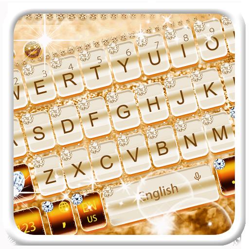 Elegant Gold Diamond Keyboard Theme