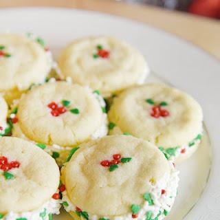 Creamy Cheesecake Filled Sugar Cookie Sandwiches.