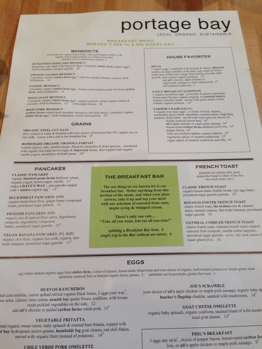 Portage Bay menu--many gluten free choices.