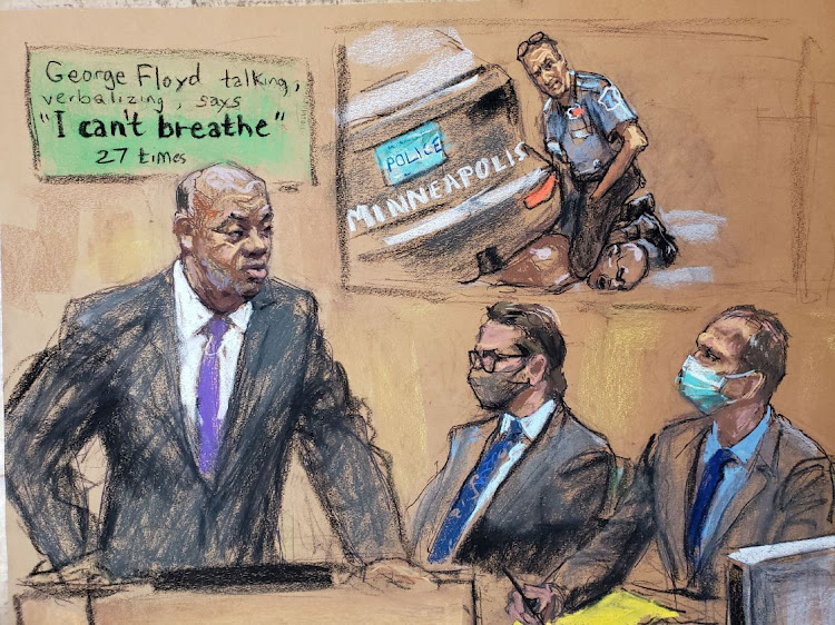 Lawyer Jerry W. Blackwell makes opening statements as defense attorney Eric Nelson sits beside former Minneapolis police officer Derek Chauvin during his trial for second-degree murder, third-degree murder and second-degree manslaughter in the death of George Floyd in Minneapolis, Minnesota, US, March 29, 2021 in this courtroom sketch from a video feed of the proceedings.