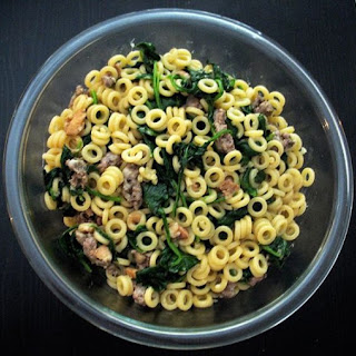 Anelletti Pasta with Sausage and Spinach.