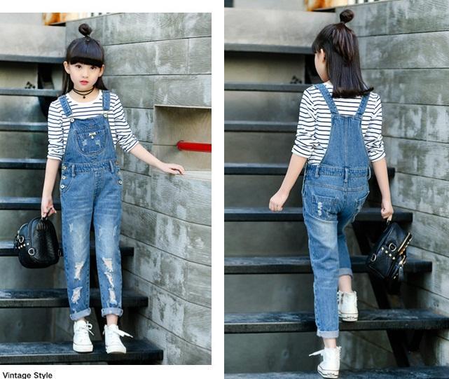 spodnie ogrodniczki jeansowe z dziurami dla dziewczynki4