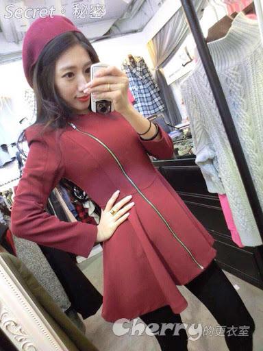 韓版長袖收腰顯瘦不對稱拉鍊荷葉邊裙擺連身裙