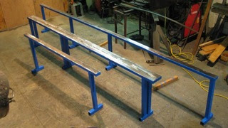 Photo: New mini rails painted up - these rails are designed to be partially buried to half height for entry level.